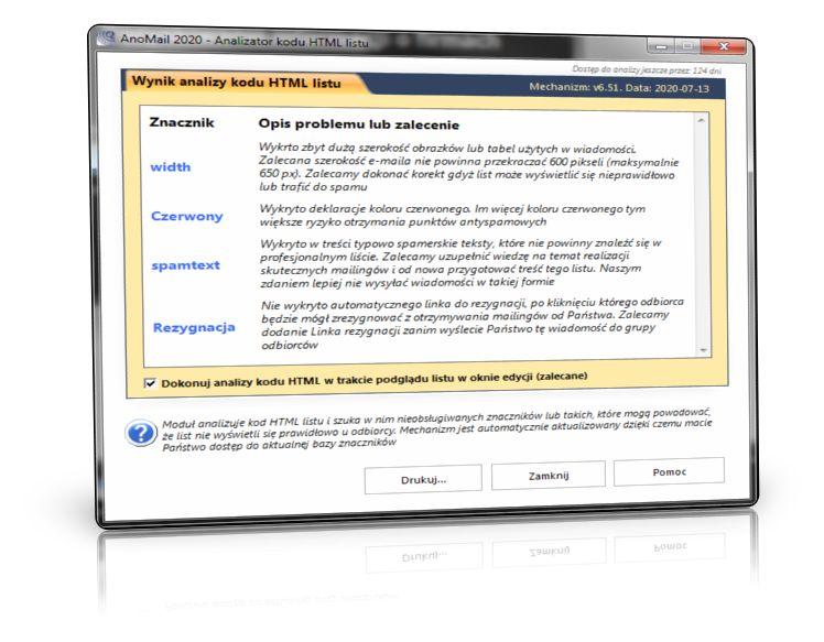 Analizator kodu HTML wiadomości