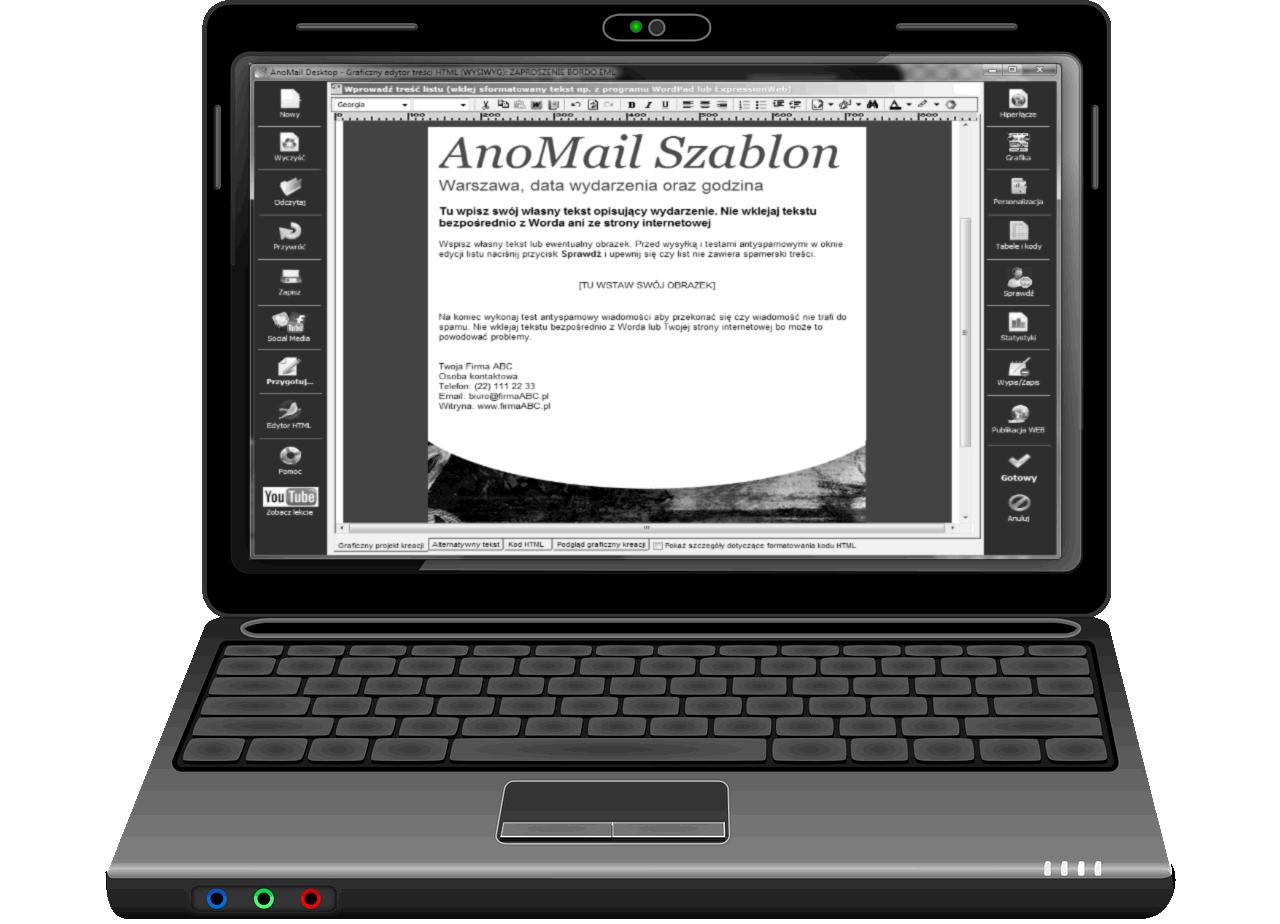 AnoMail laptop szablon