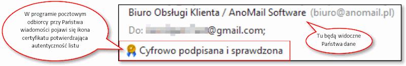 Podpis elektroniczny e-mail w Live Mail