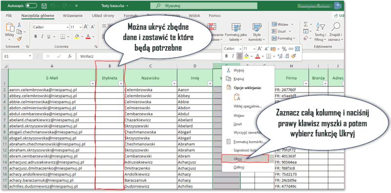 Format bazy adresowej do mailingu