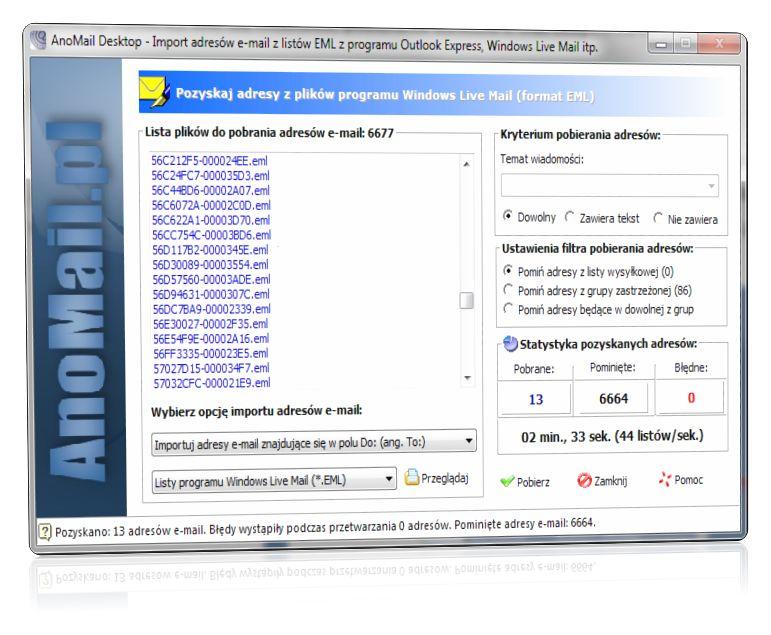Import adresów e-mail z plików EML