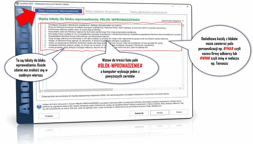 Losowe bloki tekstów e-mail