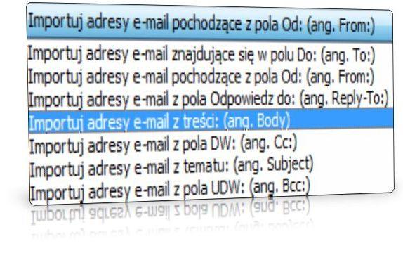 Opcje importu adresów e-mail z plików EML