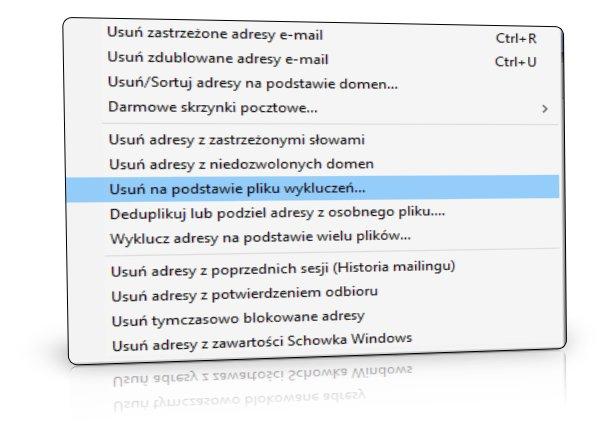 Plik wykluczeń do blokowania wysyłek
