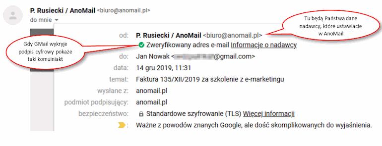 Podpis cyfrowy wiadomości e-mail w GMail