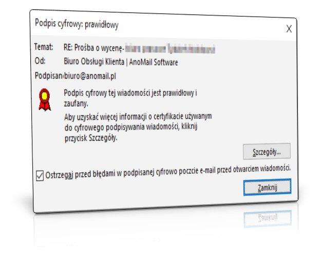 Podpis cyfrowy wiadomości e-mail