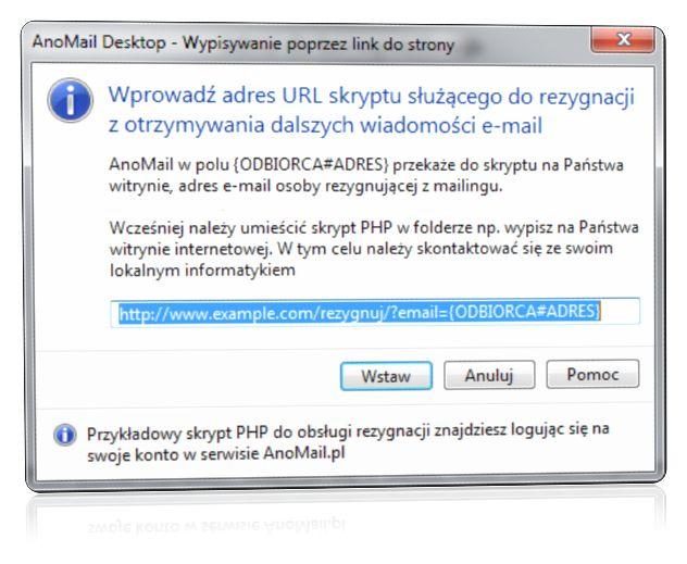 Rezygnacja z mailingu poprzez skrypt PHP