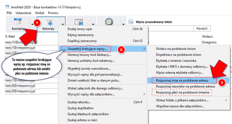 Rozpoznawanie imienia z adresu e-mail