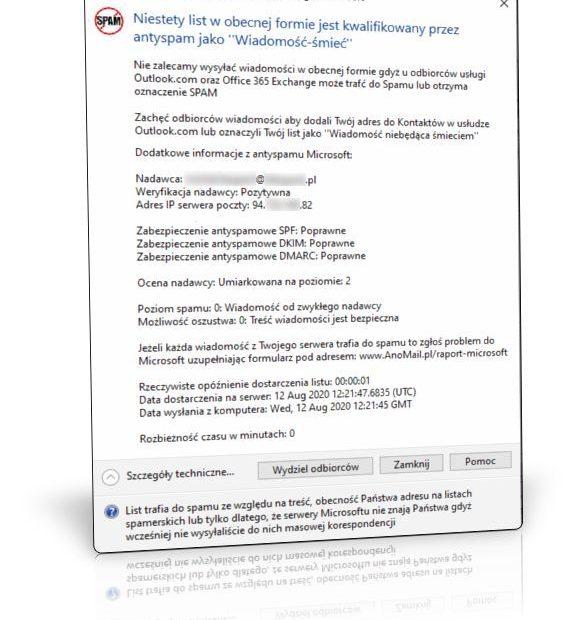Wynik: Tester antyspamowy Microsoft w AnoMail