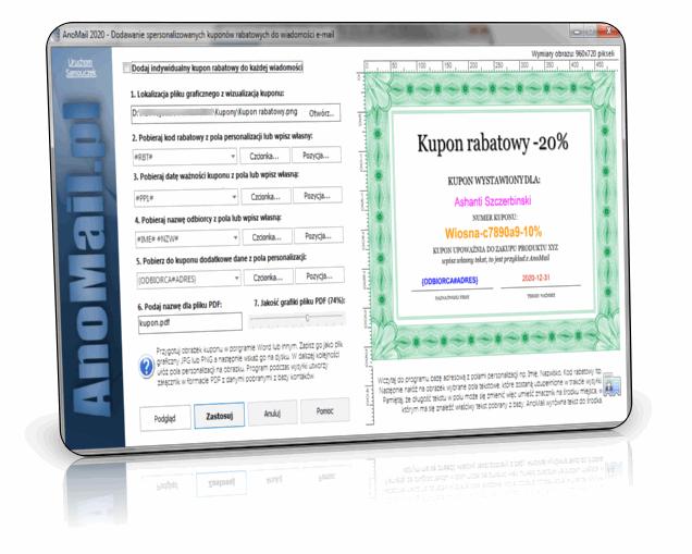 Generator kuponów rabatowych w AnoMail