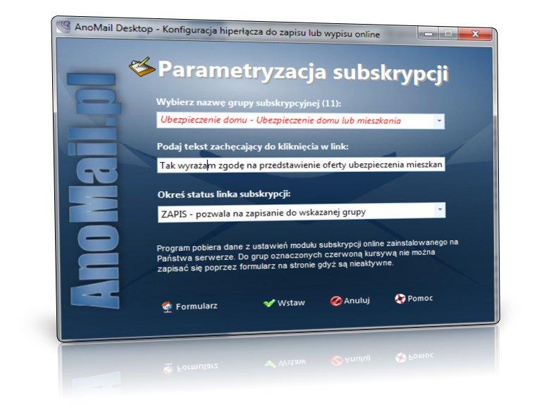 Parametryzacja linku subskrypcji