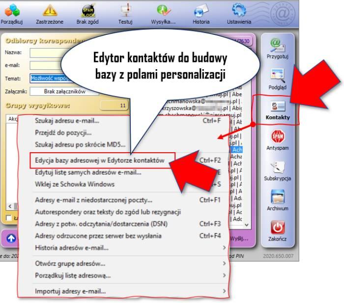 Edytor kontaktów AnoMail