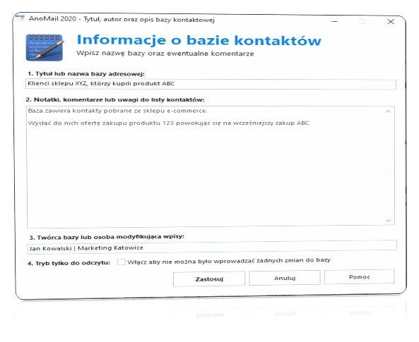 Tytuł i opis bazy do mailingu